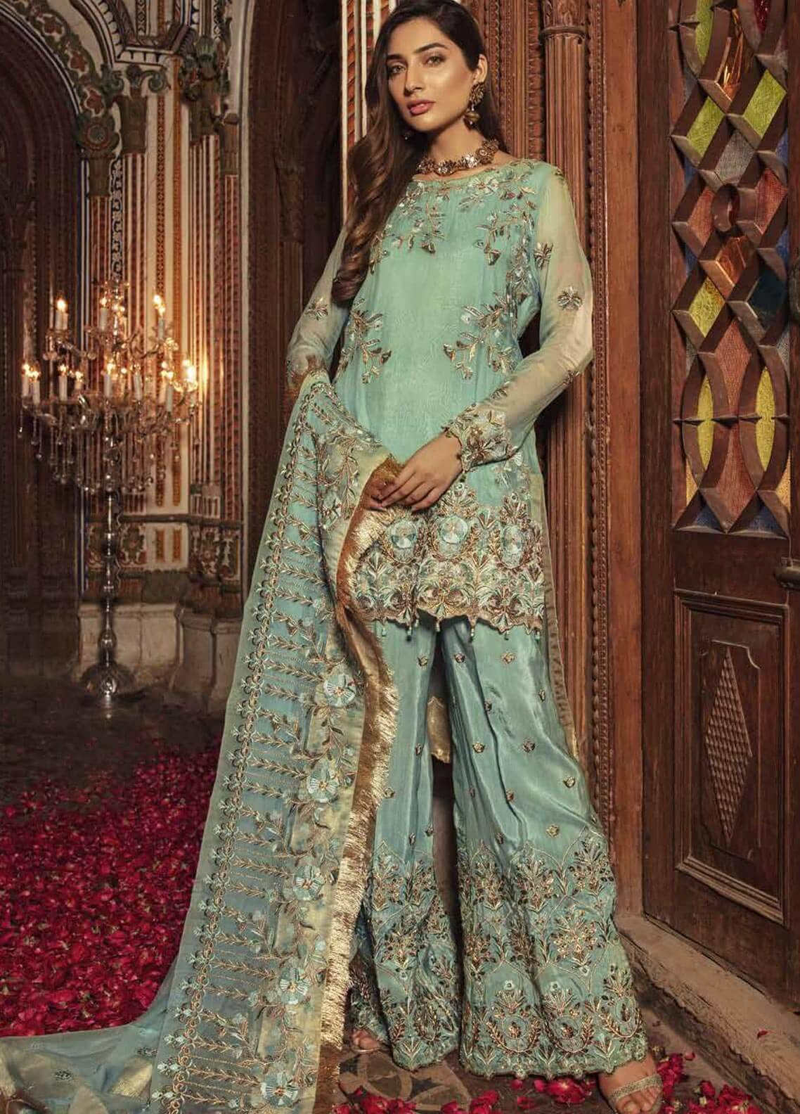 Majestic By Embroyal Embroidered Chiffon Unstitched 3 Piece Suit MJE18W 08 - Wedding Collection