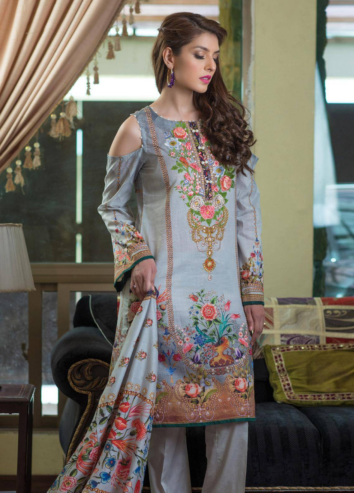 Malhar Embroidered Lawn Unstitched 3 Piece Suit ML19F 2A - Festive Collection