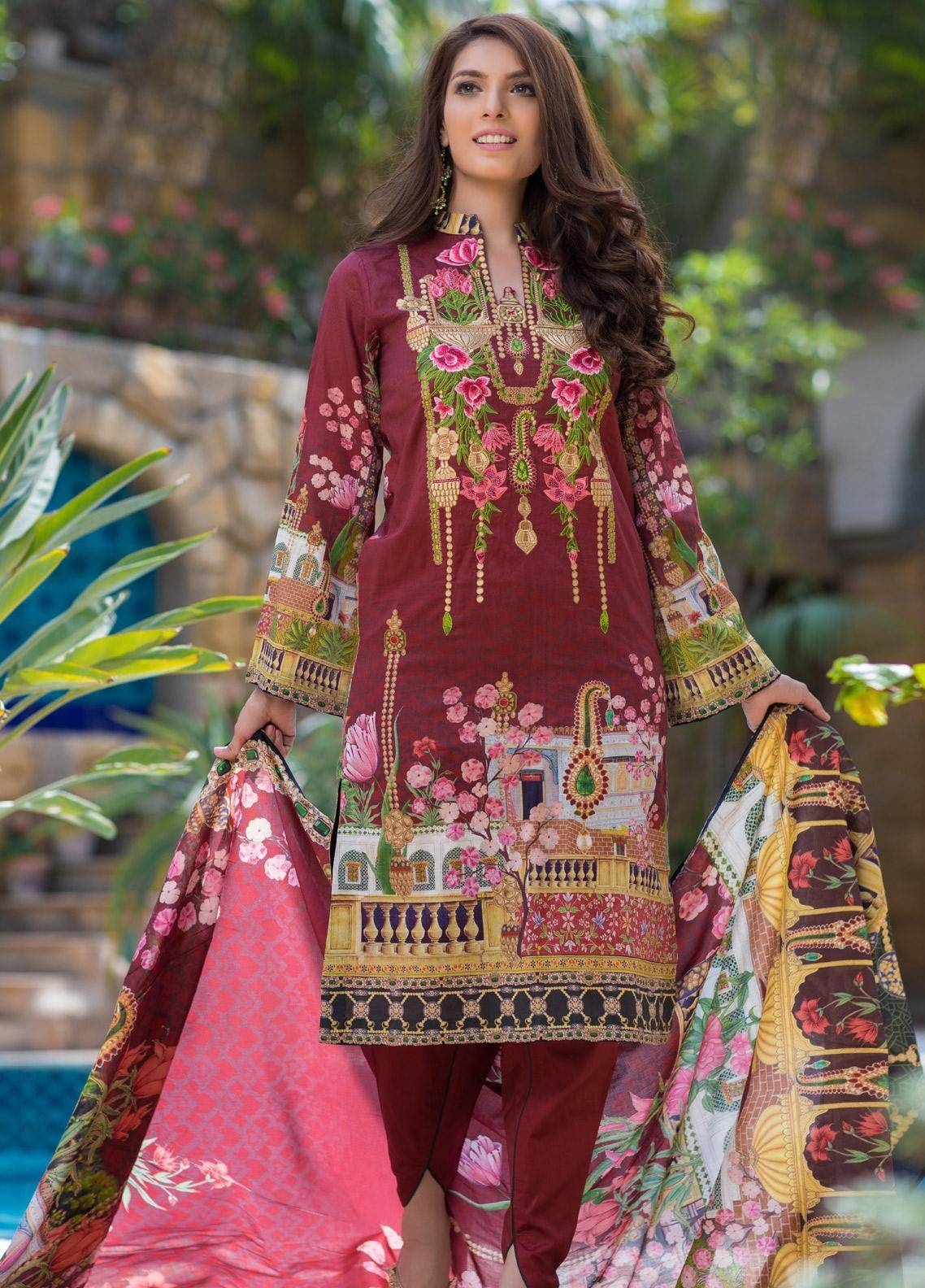 Malhar Embroidered Lawn Unstitched 3 Piece Suit ML19F 4A - Festive Collection