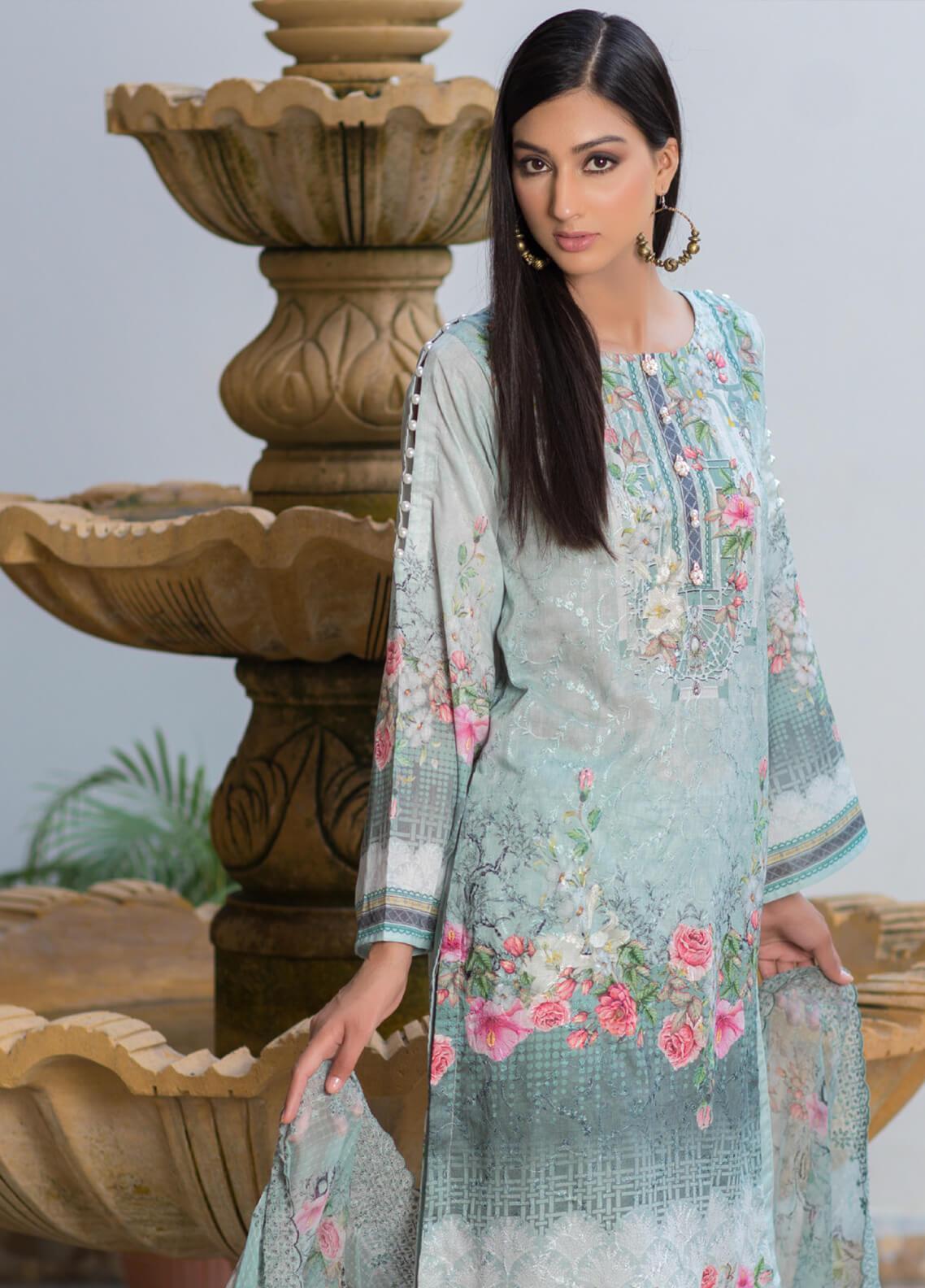 Malhar Embroidered Schiffli Unstitched 3 Piece Suit ML19SC 05 - Spring / Summer Collection