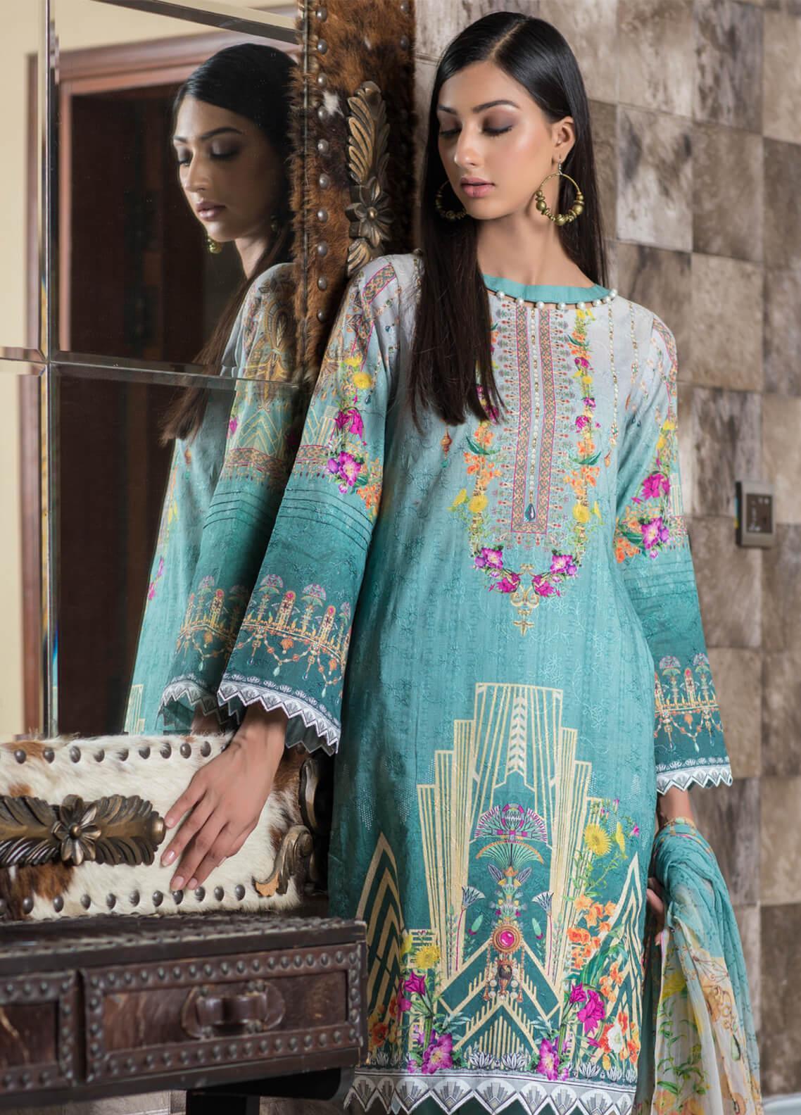 Malhar Embroidered Schiffli Unstitched 3 Piece Suit ML19SC 07 - Spring / Summer Collection