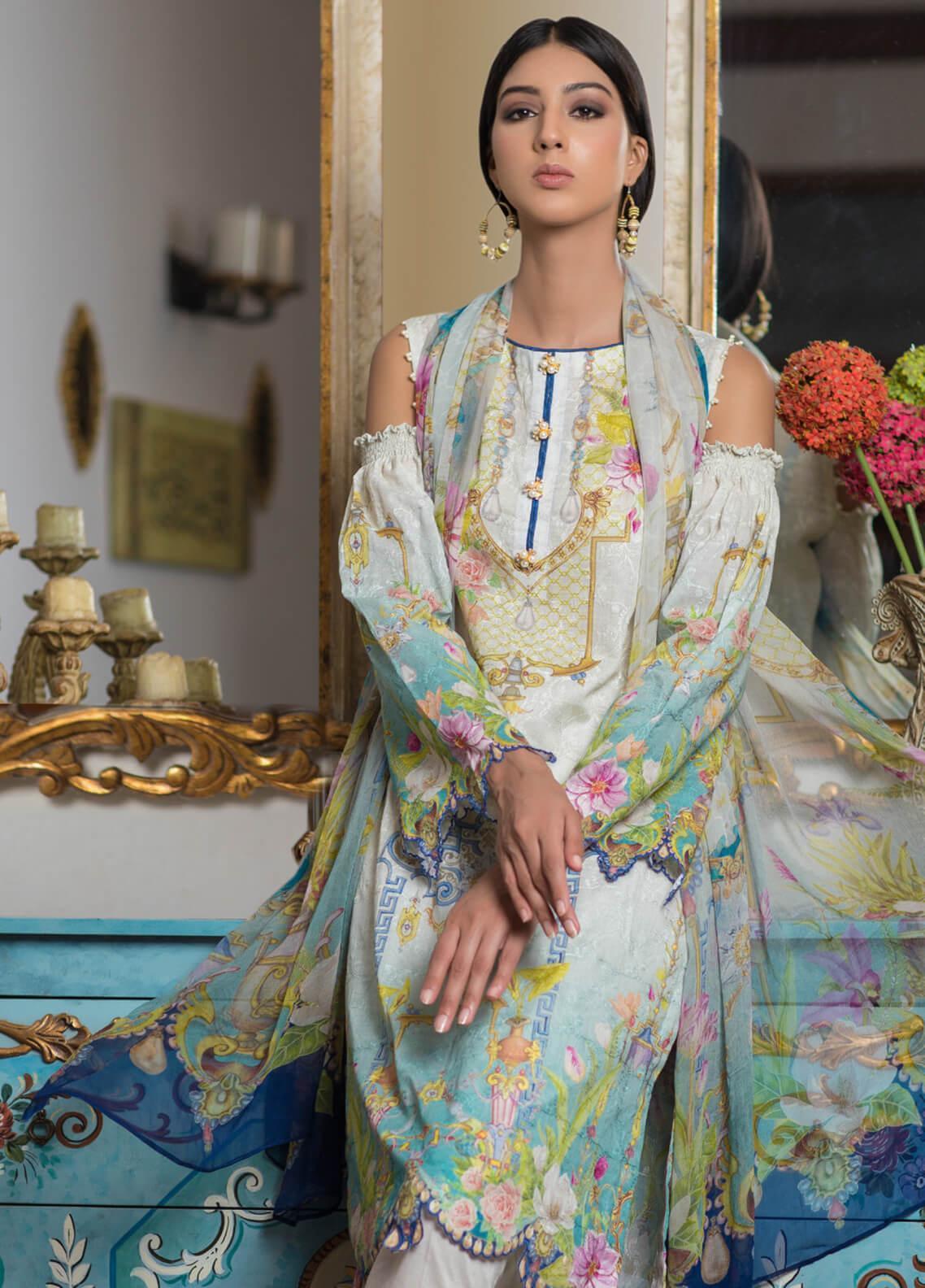 Malhar Embroidered Schiffli Unstitched 3 Piece Suit ML19SC 08 - Spring / Summer Collection