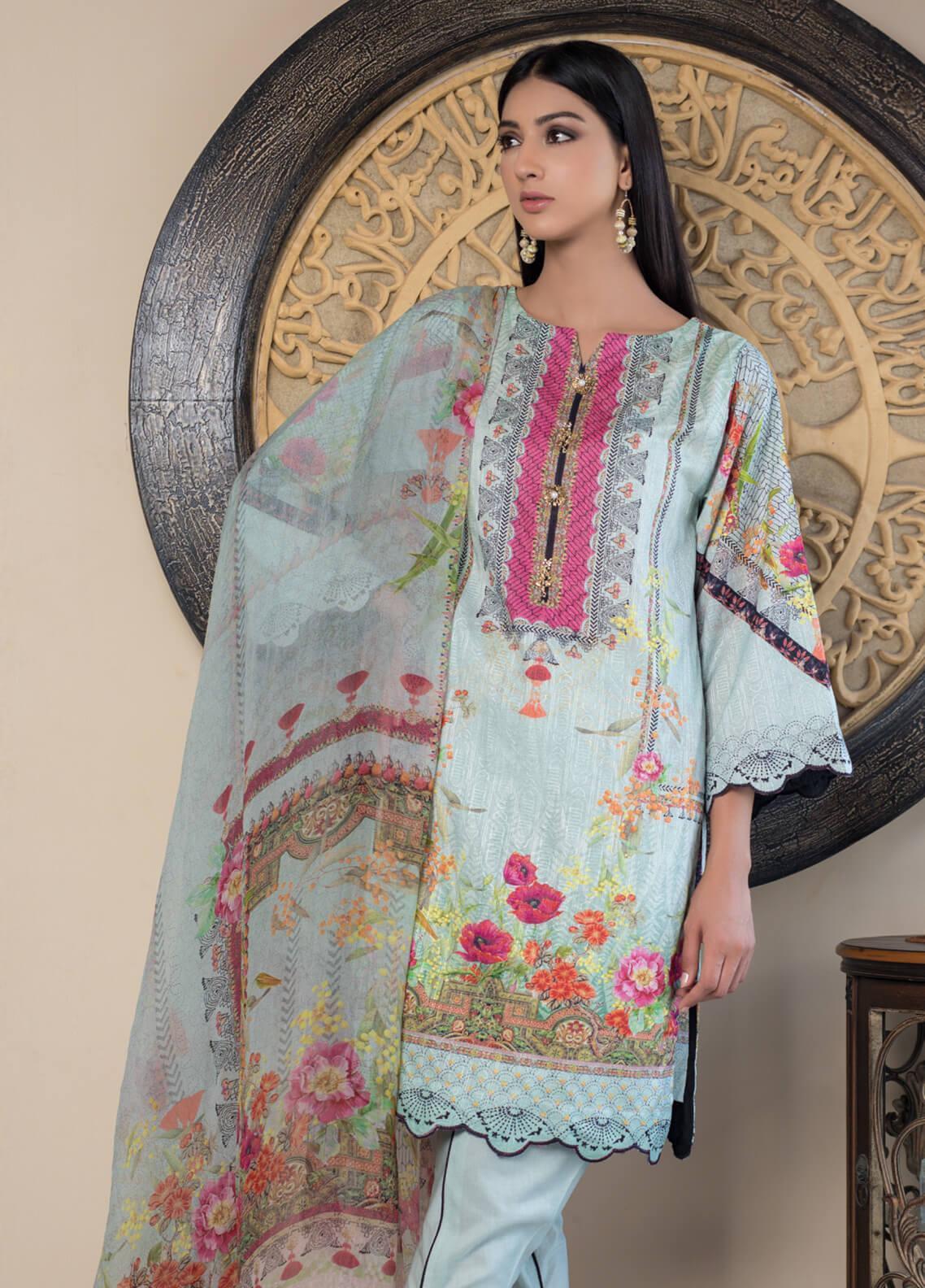 Malhar Embroidered Schiffli Unstitched 3 Piece Suit ML19SC 09 - Spring / Summer Collection