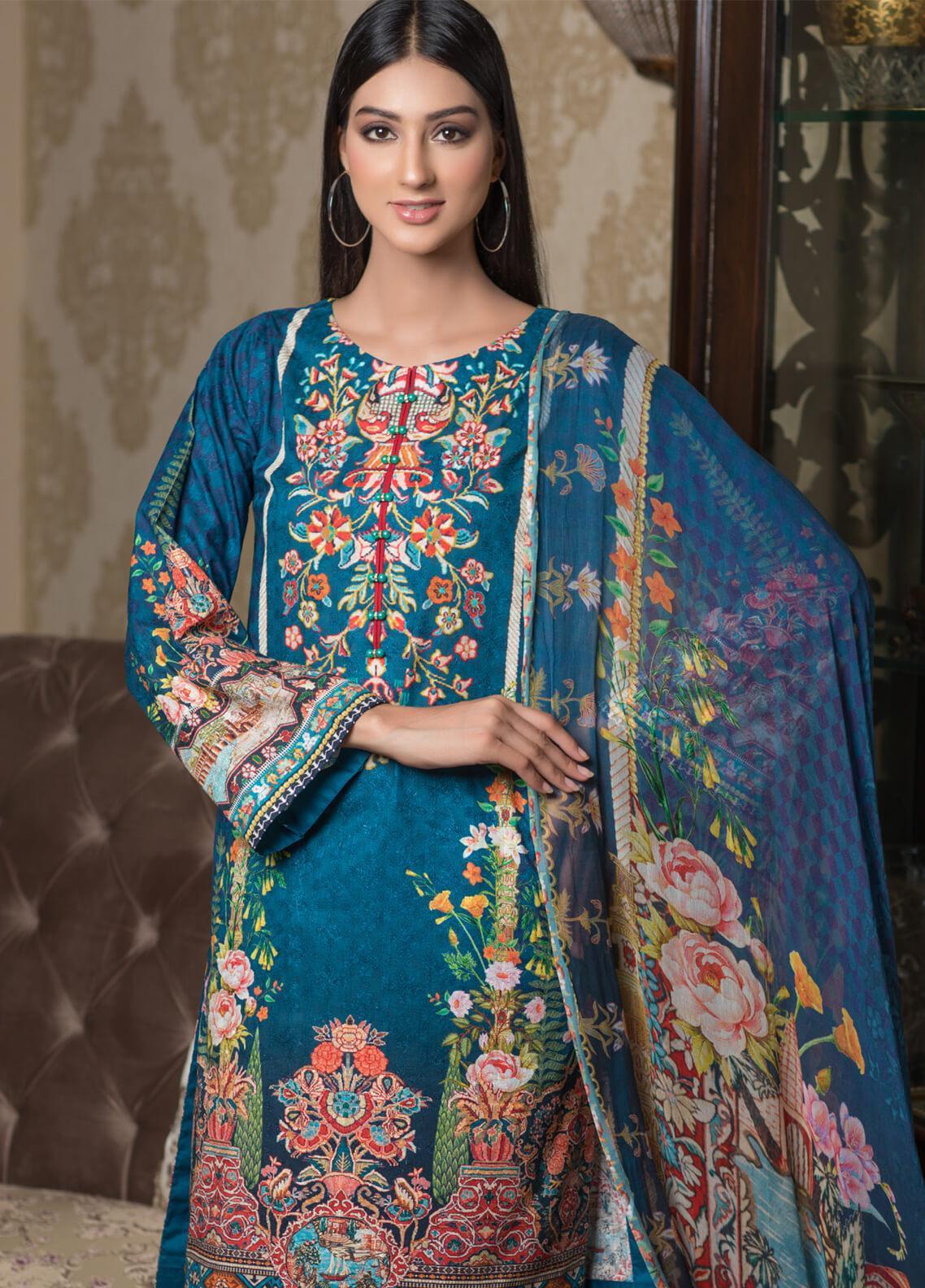 Malhar Embroidered Schiffli Unstitched 3 Piece Suit ML19SC 10 - Spring / Summer Collection