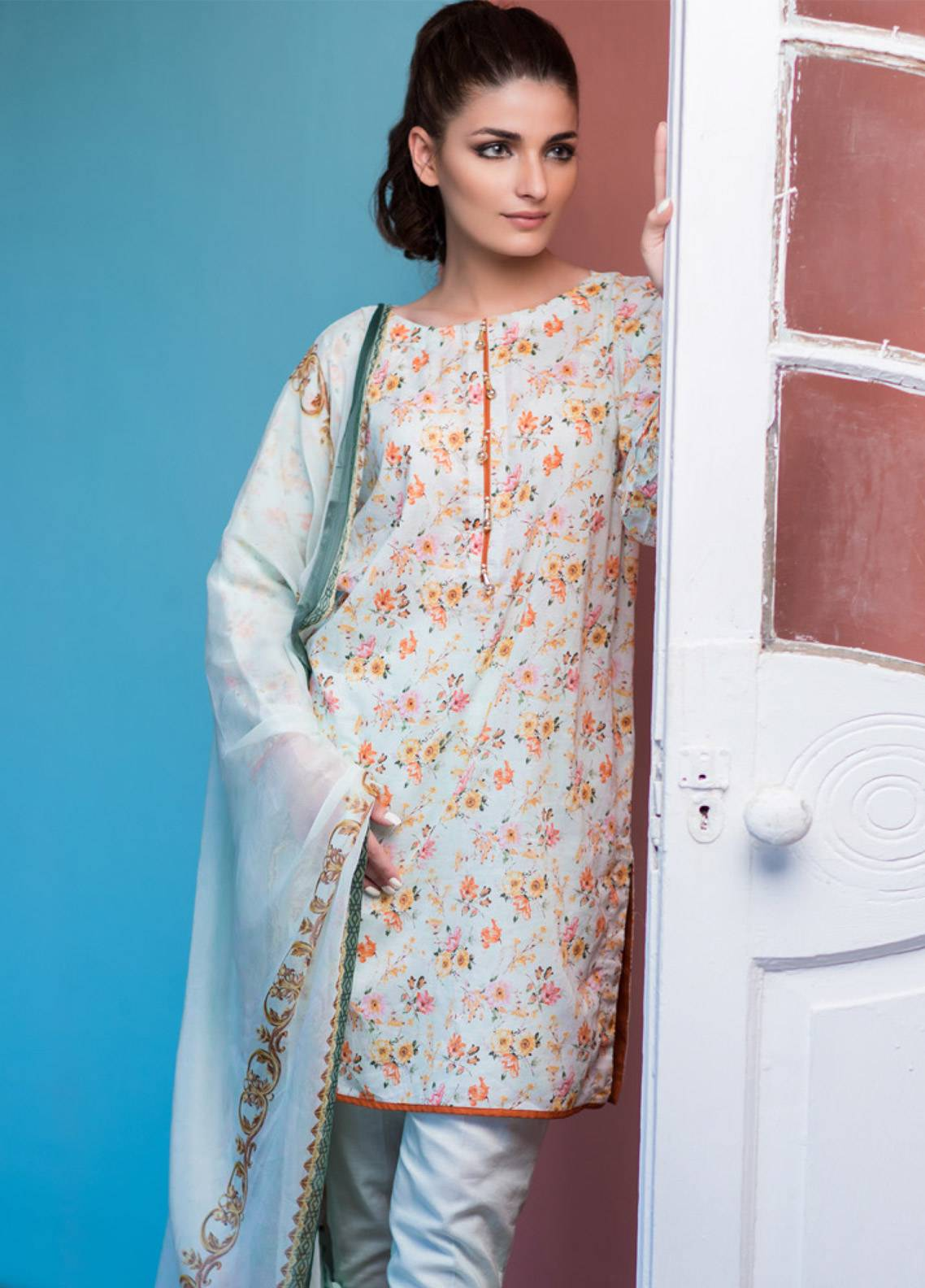 Malhar Printed Lawn Unstitched 3 Piece Suit ML19BL 5A - Spring / Summer Collection