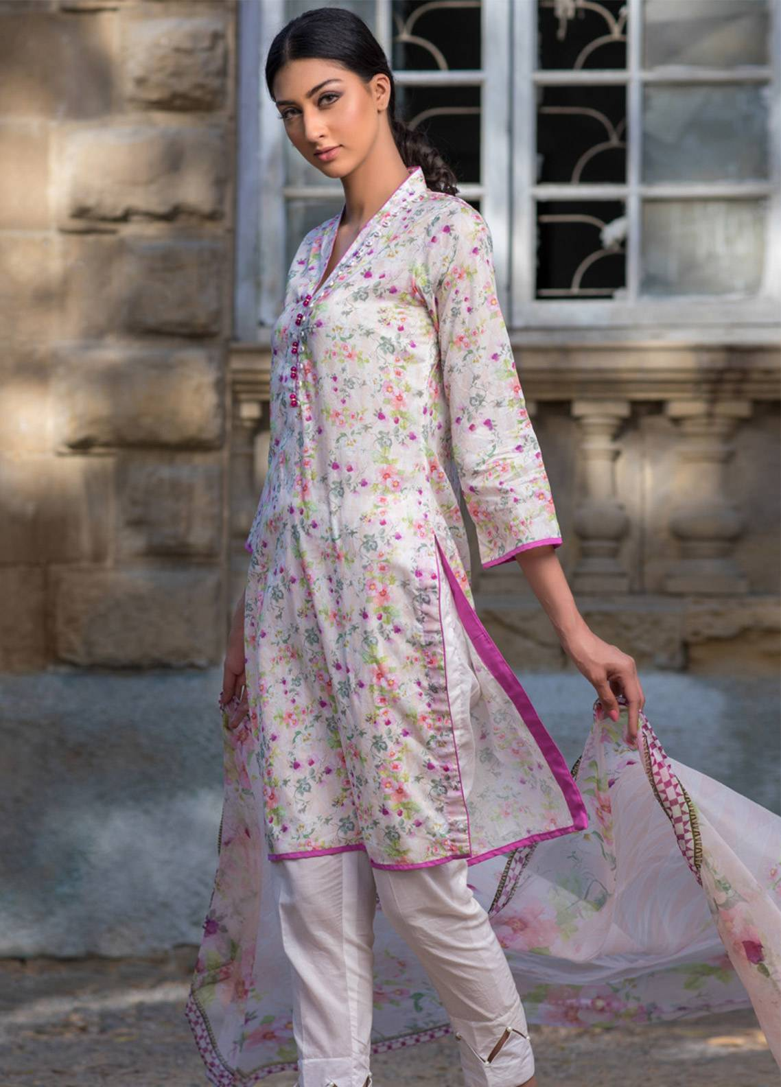 Malhar Printed Lawn Unstitched 3 Piece Suit ML19BL 8B - Spring / Summer Collection