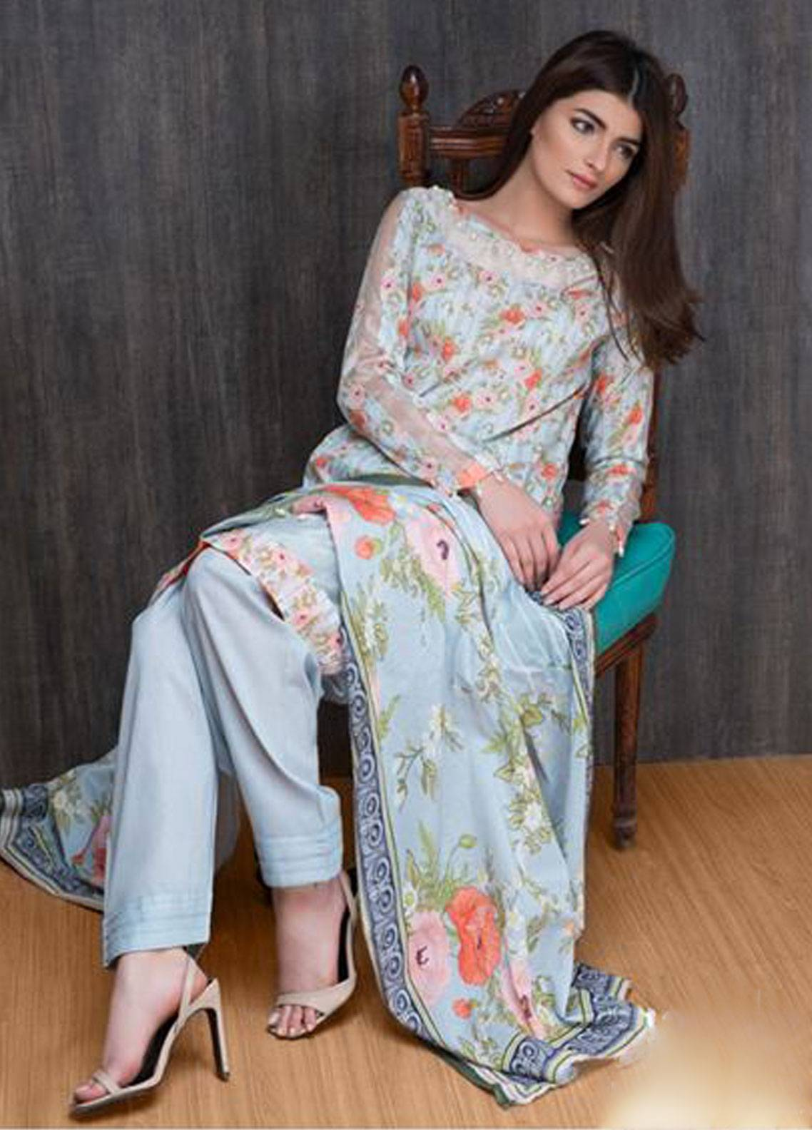 Malhar Printed Lawn Unstitched 3 Piece Suit ML19PL 12B - Spring / Summer Collection