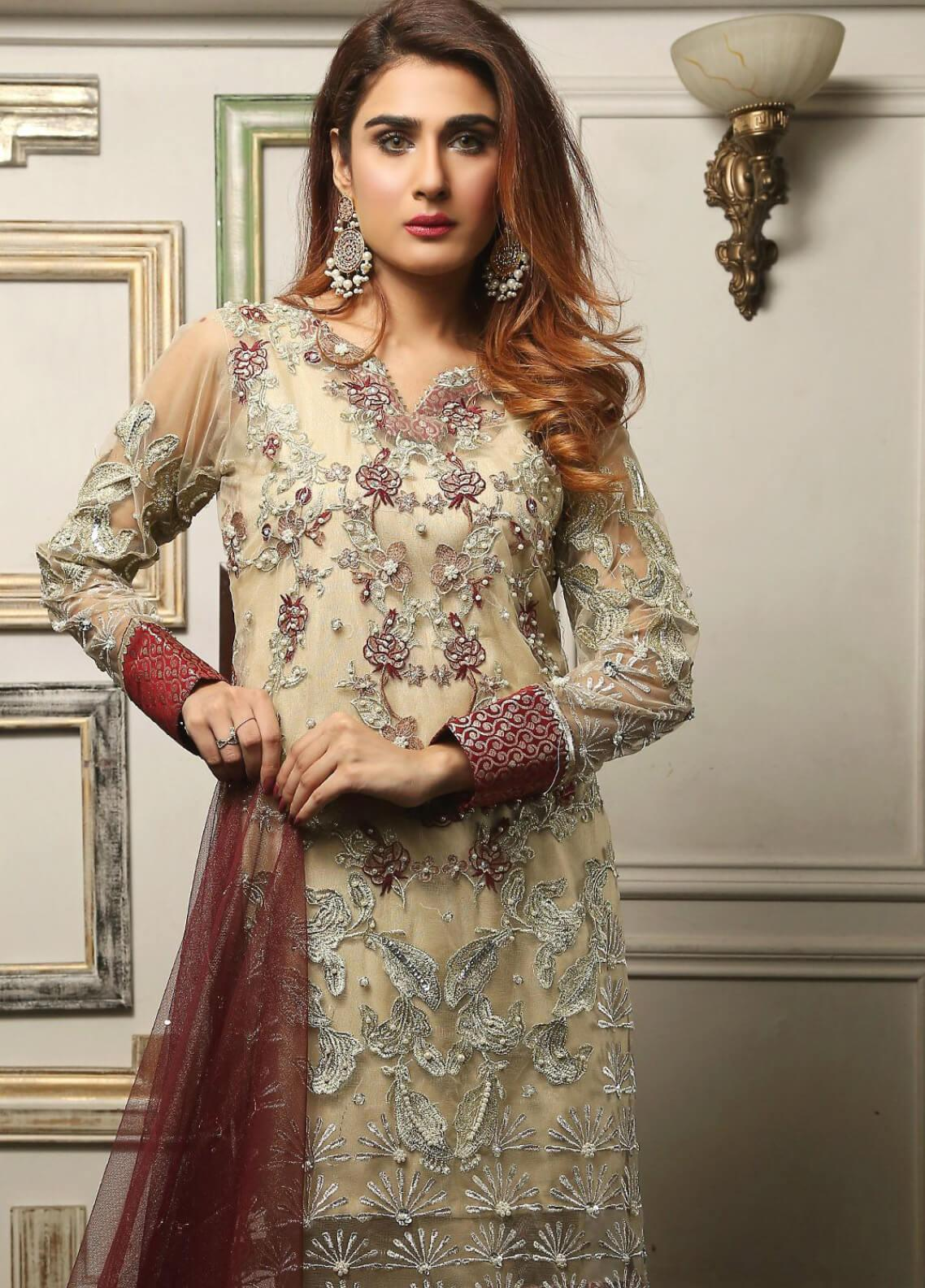 Maliha Kamal Embroidered Chiffon Unstitched 3 Piece Suit MK19C 069 BAMBOO - Luxury Collection