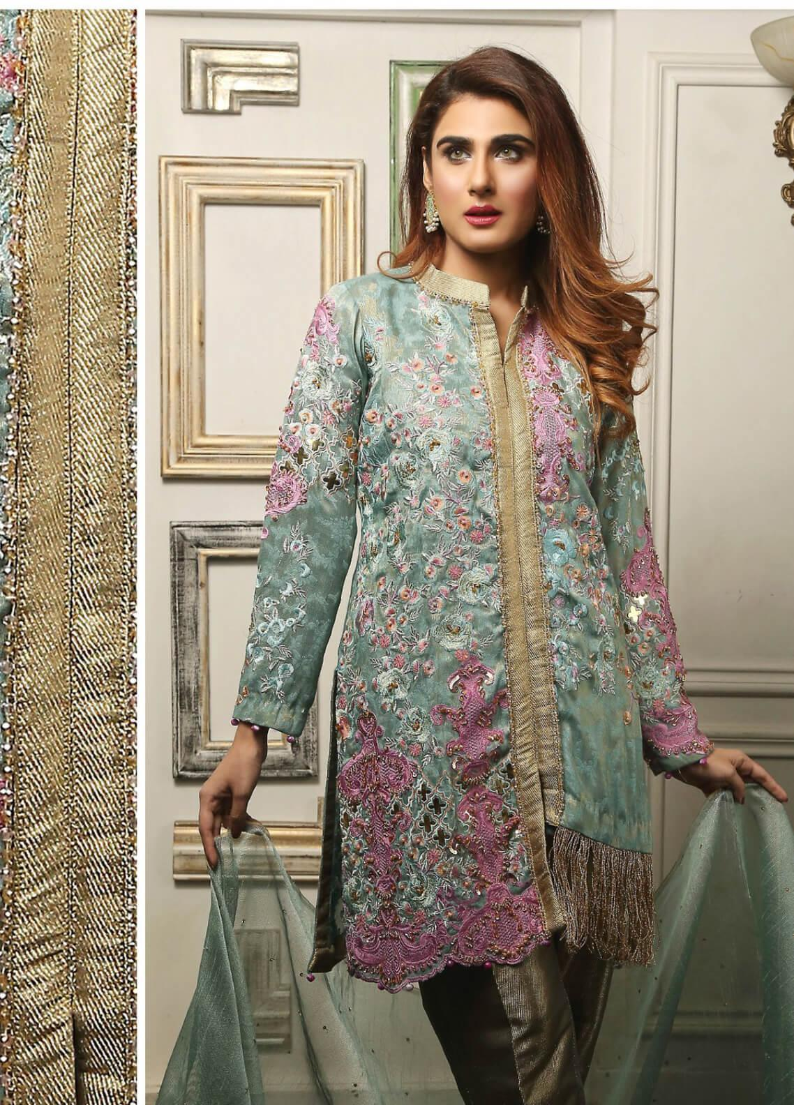 23685a25d20 Maliha Kamal Embroidered Chiffon Unstitched 3 Piece Suit MK19C 072 MINT  HINT - Luxury Collection