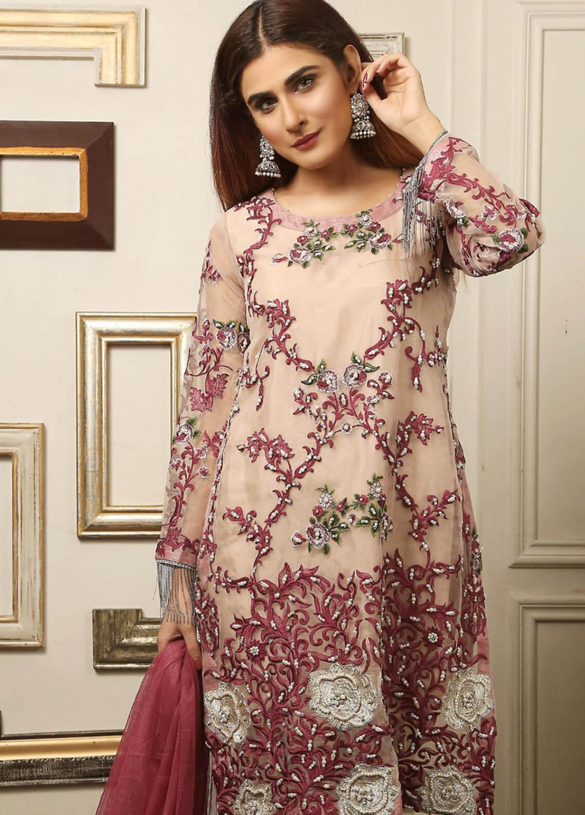 Maliha Kamal Embroidered Chiffon Unstitched 3 Piece Suit MK19C 074 POWDER HINT - Luxury Collection