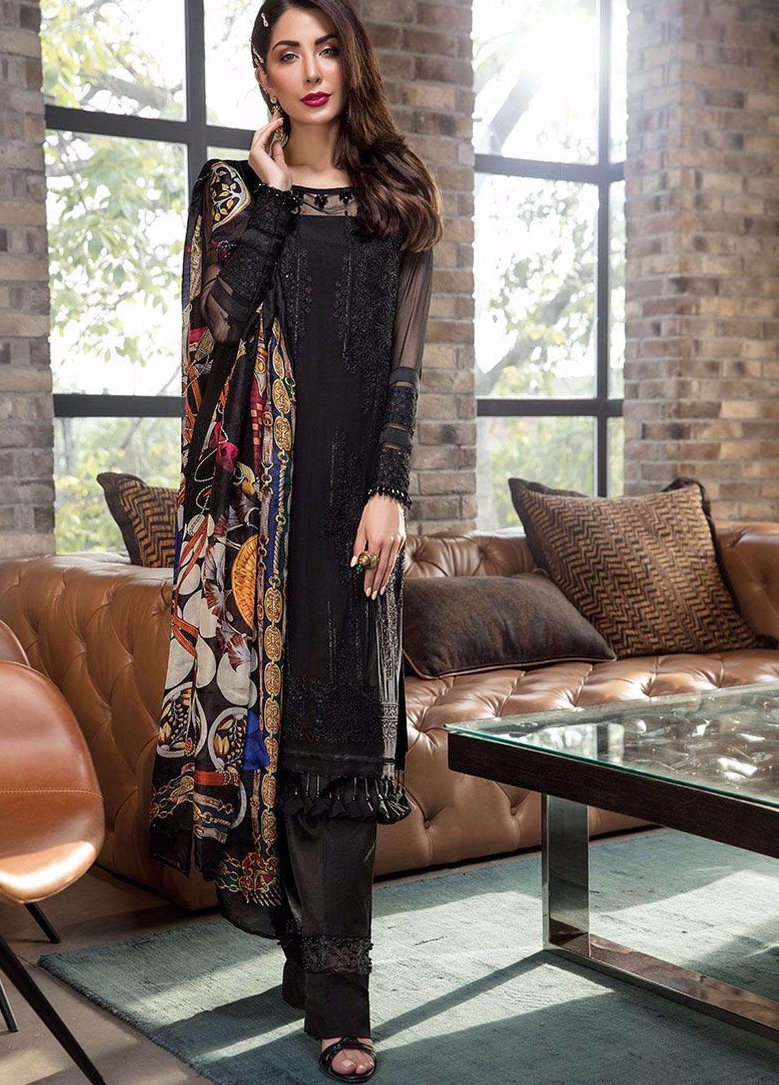 Manara Embroidered Chiffon Unstitched 3 Piece Suit MNA19C 001 BEDAZZLED - Eid Collection