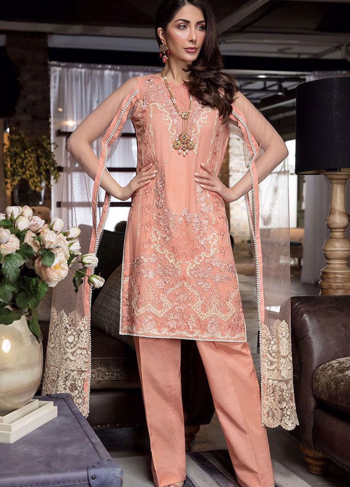 Manara Embroidered Chiffon Unstitched 3 Piece Suit MNA19C 003 SCARLETT - Eid Collection