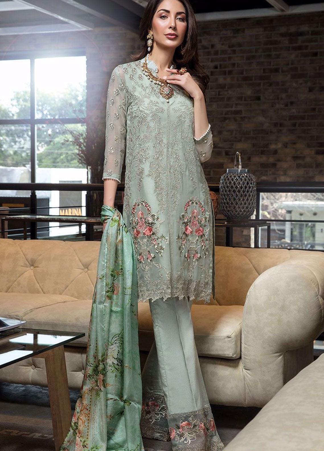 Manara Embroidered Chiffon Unstitched 3 Piece Suit MNA19C 006 AMELIA - Eid Collection