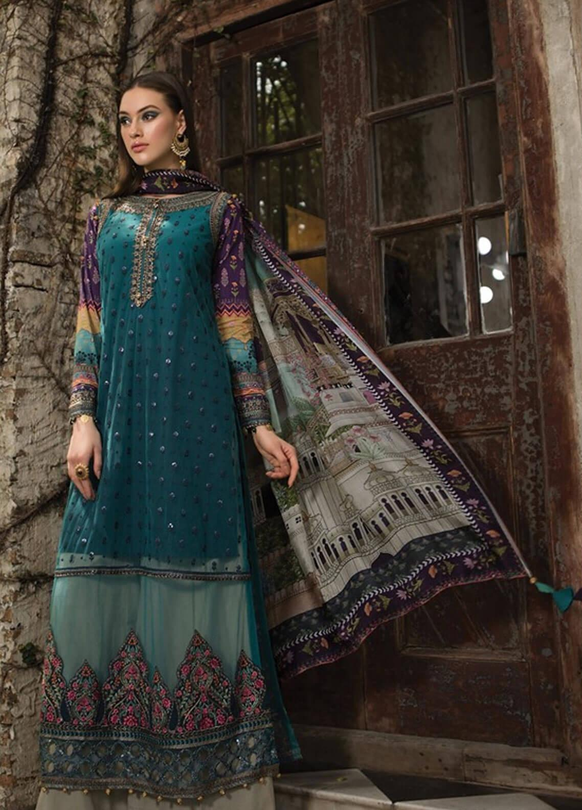 Maria B Embroidered Zari Net Unstitched 3 Piece Suit MBE19L 603 - Eid Collection