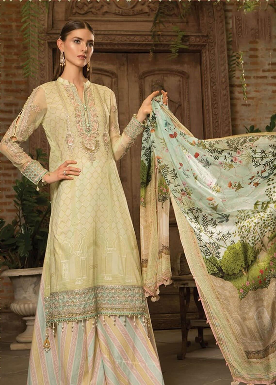 17f2fb5cc11 Maria B Embroidered Lawn Unstitched 3 Piece Suit MBE19L 608 - Eid Collection