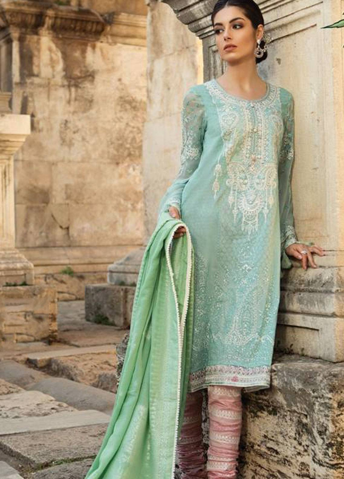 7e16e411c45 Maria B Embroidered Lawn Unstitched 3 Piece Suit MB19L 09B - Spring / Summer  Collection
