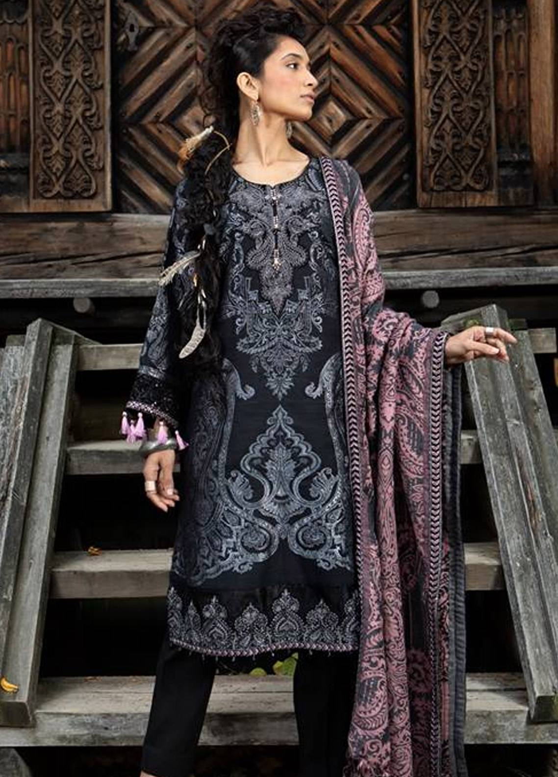 ee5968cebd1 Maria B Embroidered Linen Unstitched 3 Piece Suit MB18W 01 - Fall Winter  Collection