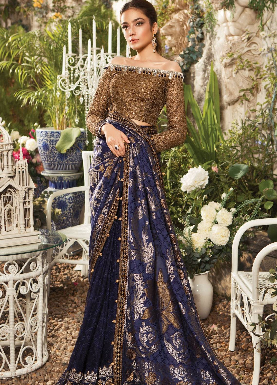 Maria B Embroidered Zari Net Unstitched Saree MB19E 1601 - Eid Collection