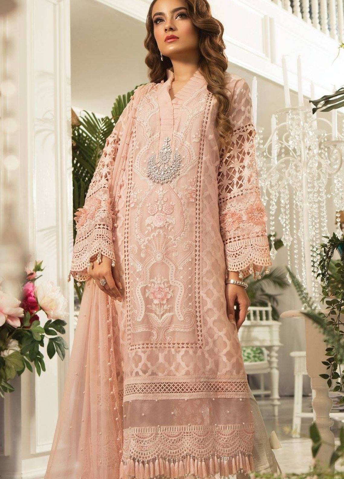 b5ad5f12b8a Maria B Embroidered Organza Unstitched 3 Piece Suit MB19E 1602 - Eid  Collection