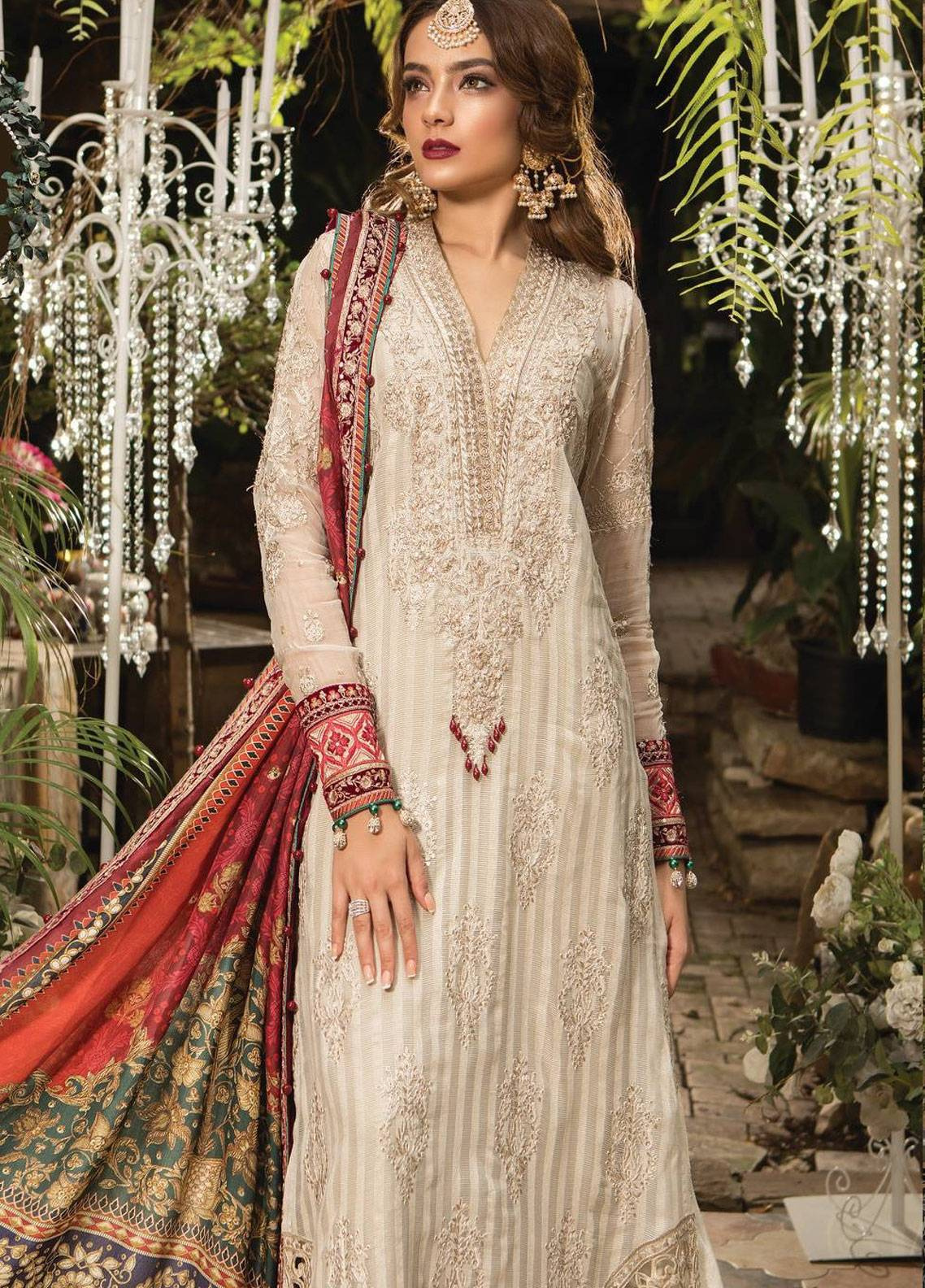 Maria B Embroidered Karandi Net Unstitched 3 Piece Suit MB19E 1603 - Eid Collection