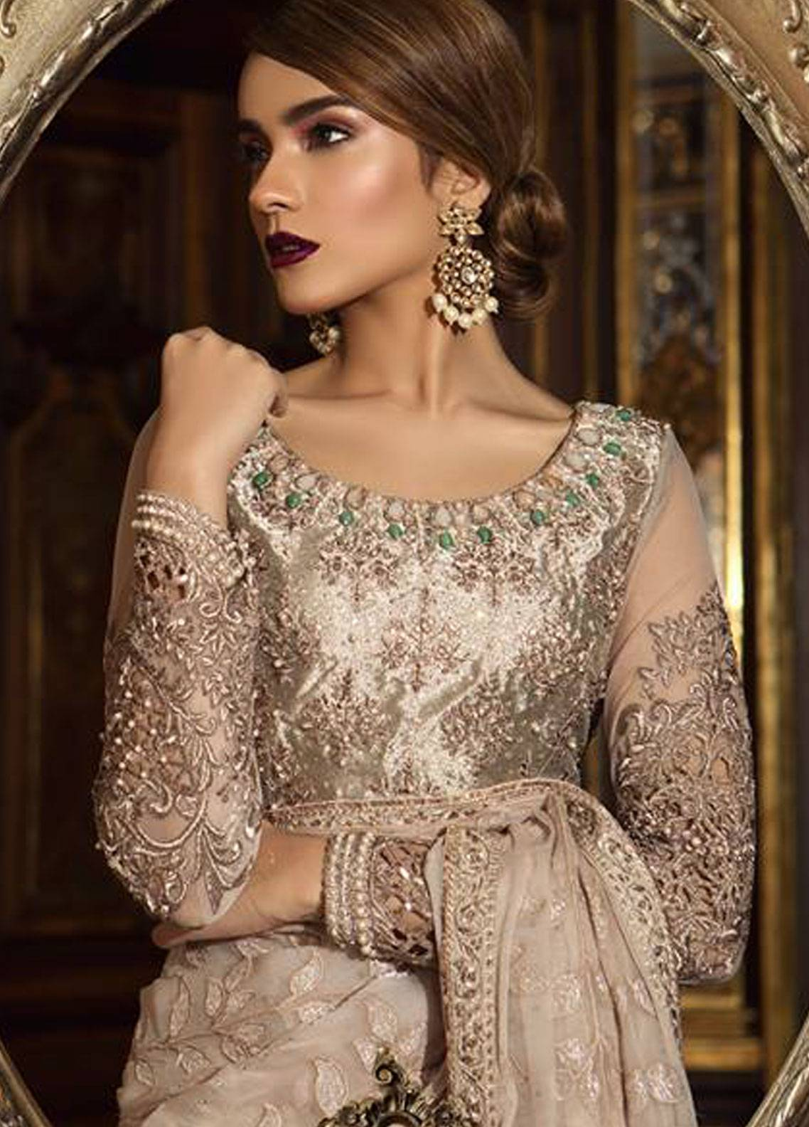 6661eee5d51 Maria B Embroidered Organza Unstitched 3 Piece Suit MB18-W1 02 - Wedding  Collection