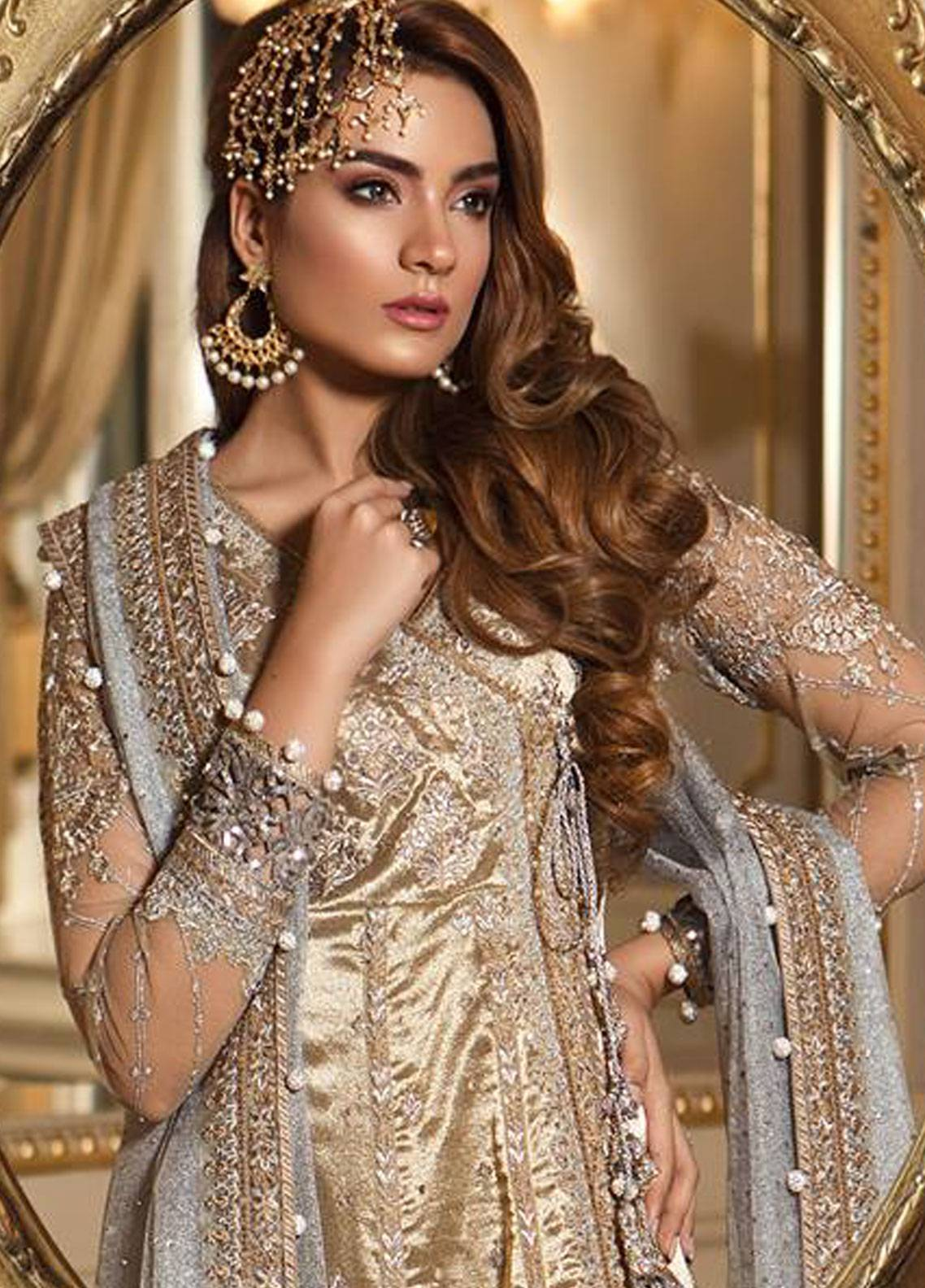 11b9ac9559b Maria B Embroidered Organza Unstitched 3 Piece Suit MB18-W1 10 - Wedding  Collection