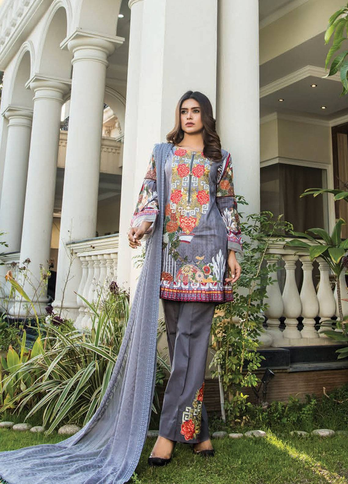 c0ea41e995 Maya by Noor Textile Embroidered Lawn Unstitched 3 Piece Suit MYN19L 07 -  Spring / Summer Collection