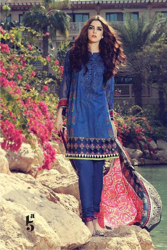 Maria B Embroidered Lawn Unstitched 3 Piece Suit MB17L 15A