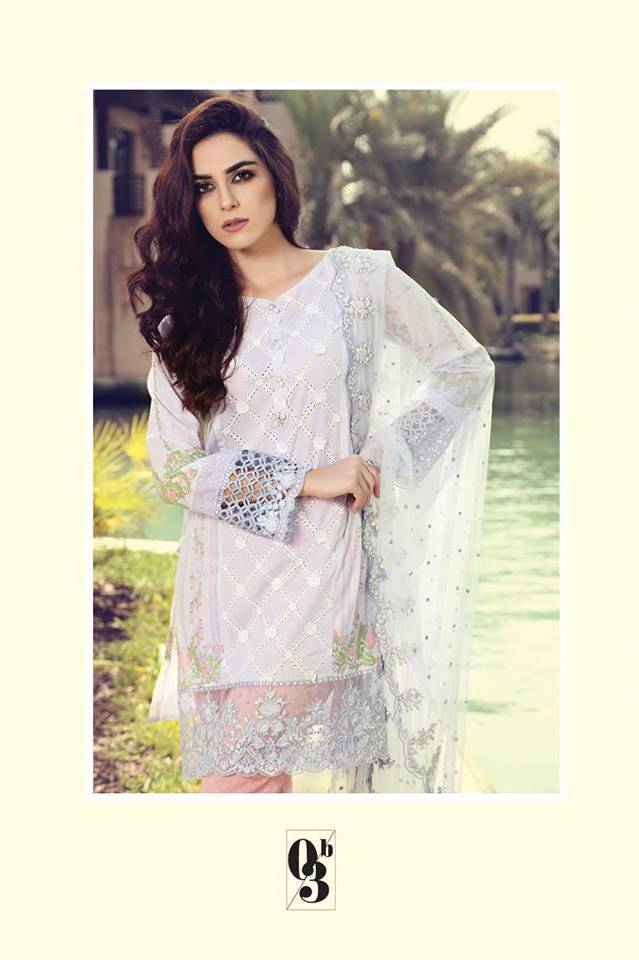 Maria B Embroidered Lawn Unstitched 3 Piece Suit MB17L 3B