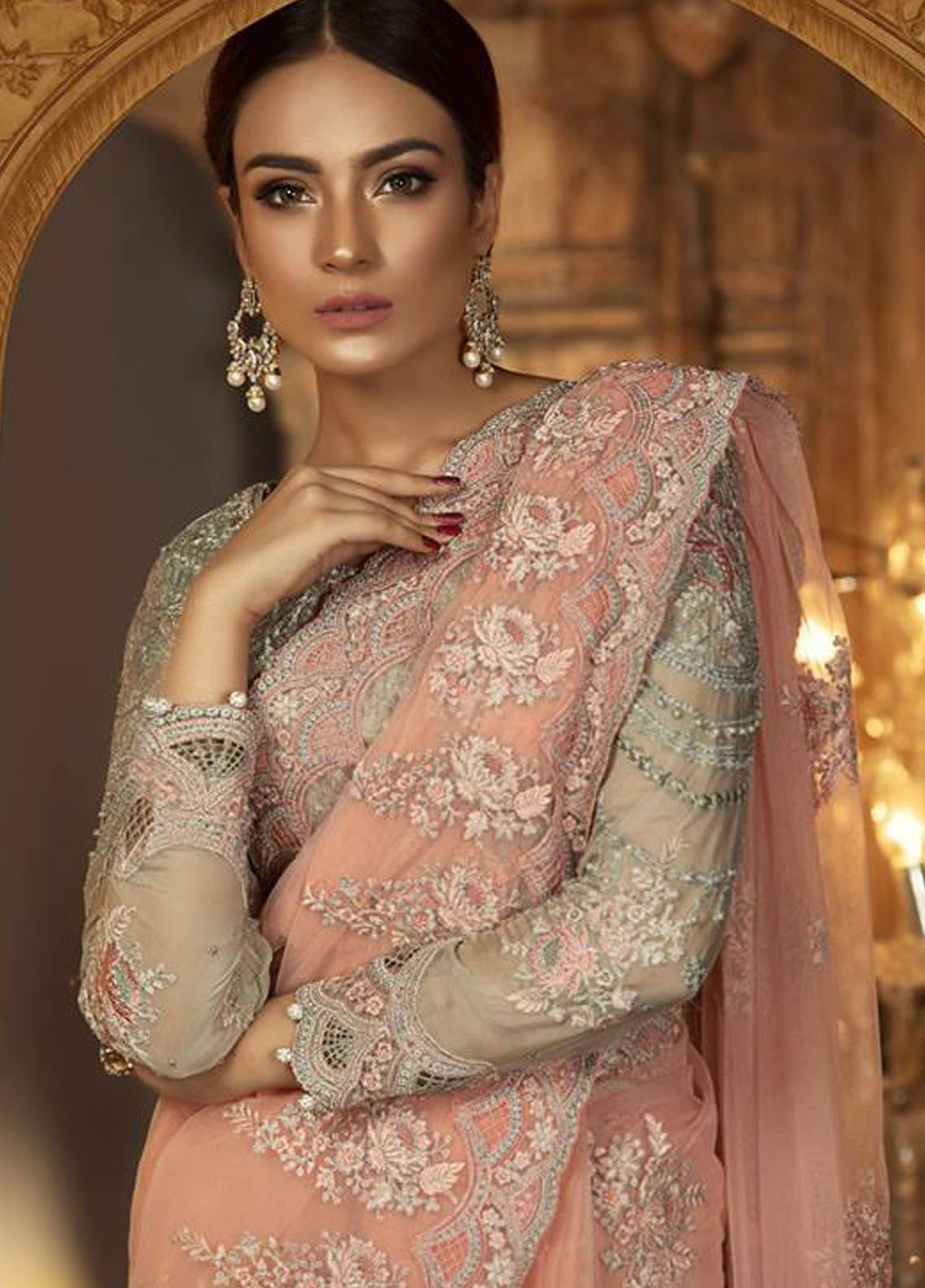Maria B Embroidered Chiffon Unstitched Saree MB18-E2 04 - Eid Collection