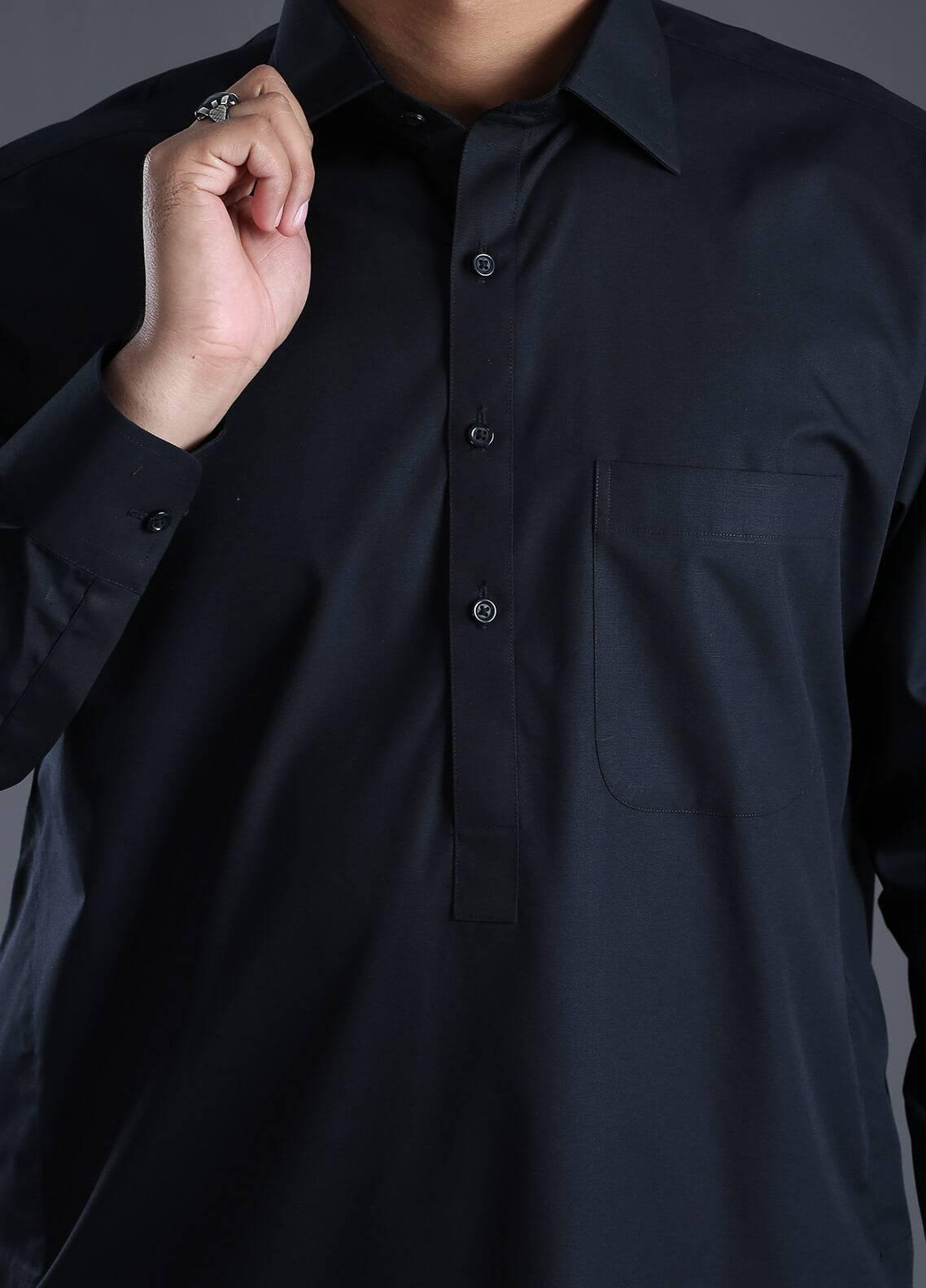Skangen Wash N Wear Formal Kameez Shalwar for Men - Black Alst-0001