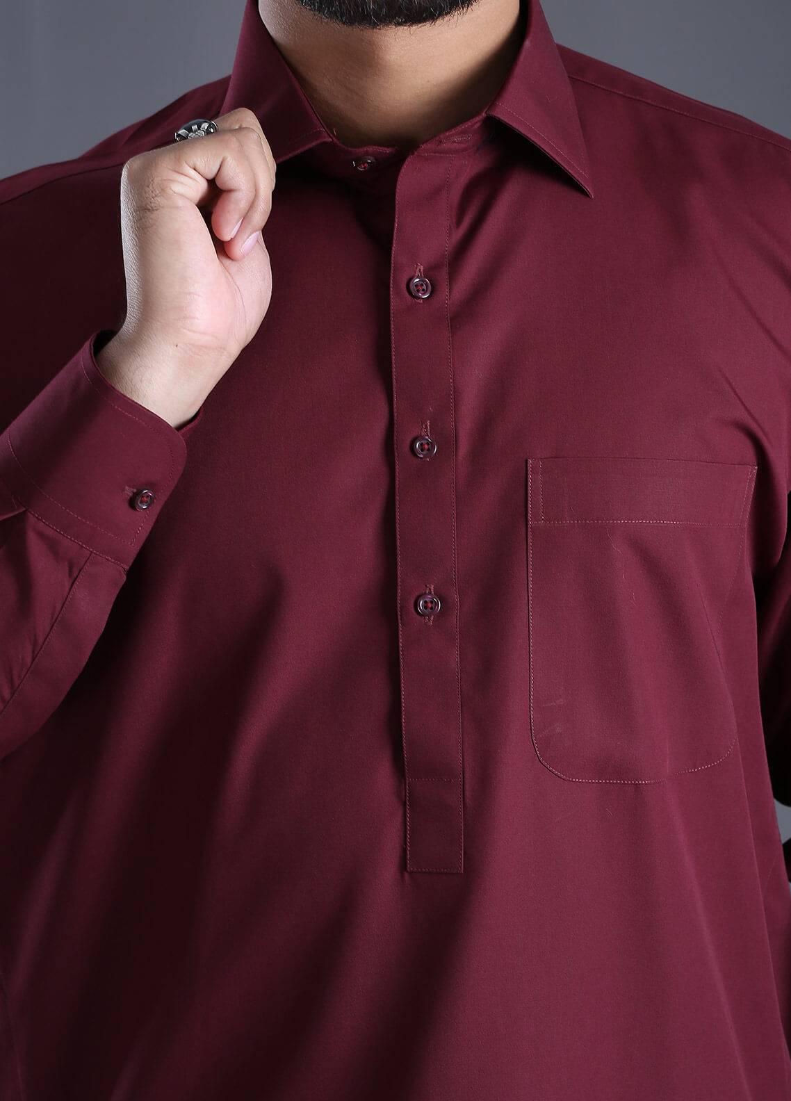 Skangen Wash N Wear Formal Men Kameez Shalwar - Maroon Alst-0002
