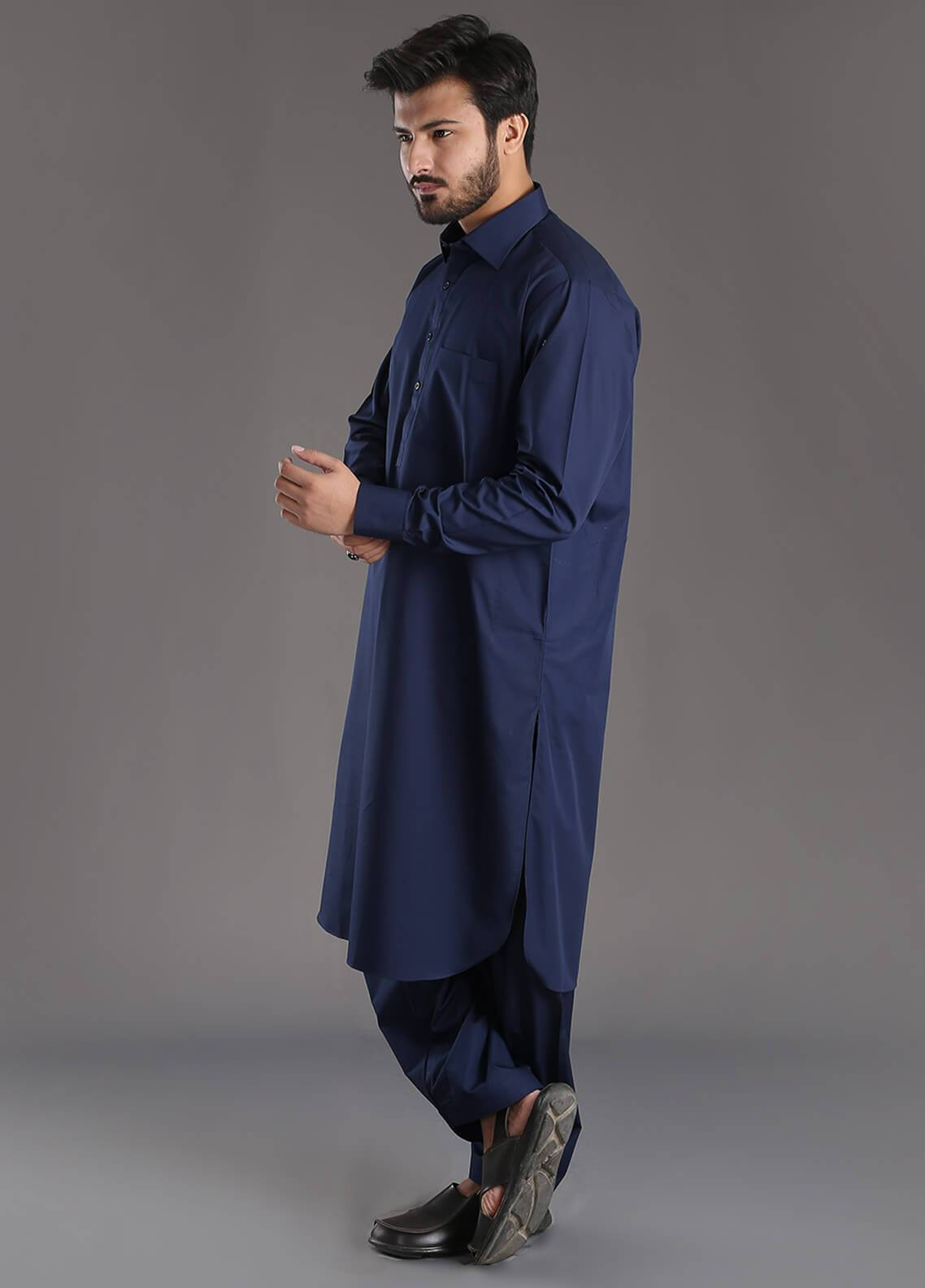 Skangen Wash N Wear Formal Kameez Shalwar for Men - Blue Alst-0003