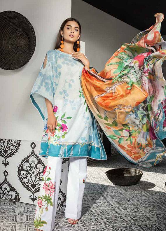 Mahgul by Al Zohaib Embroidered Lawn Unstitched 3 Piece Suit MG18L 4A - Spring / Summer Collection