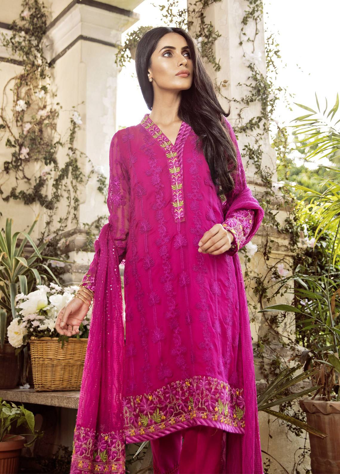 Mina Hasan Embroidered Chiffon Unstitched 3 Piece Suit MH18C JAAMNI - Festive Collection