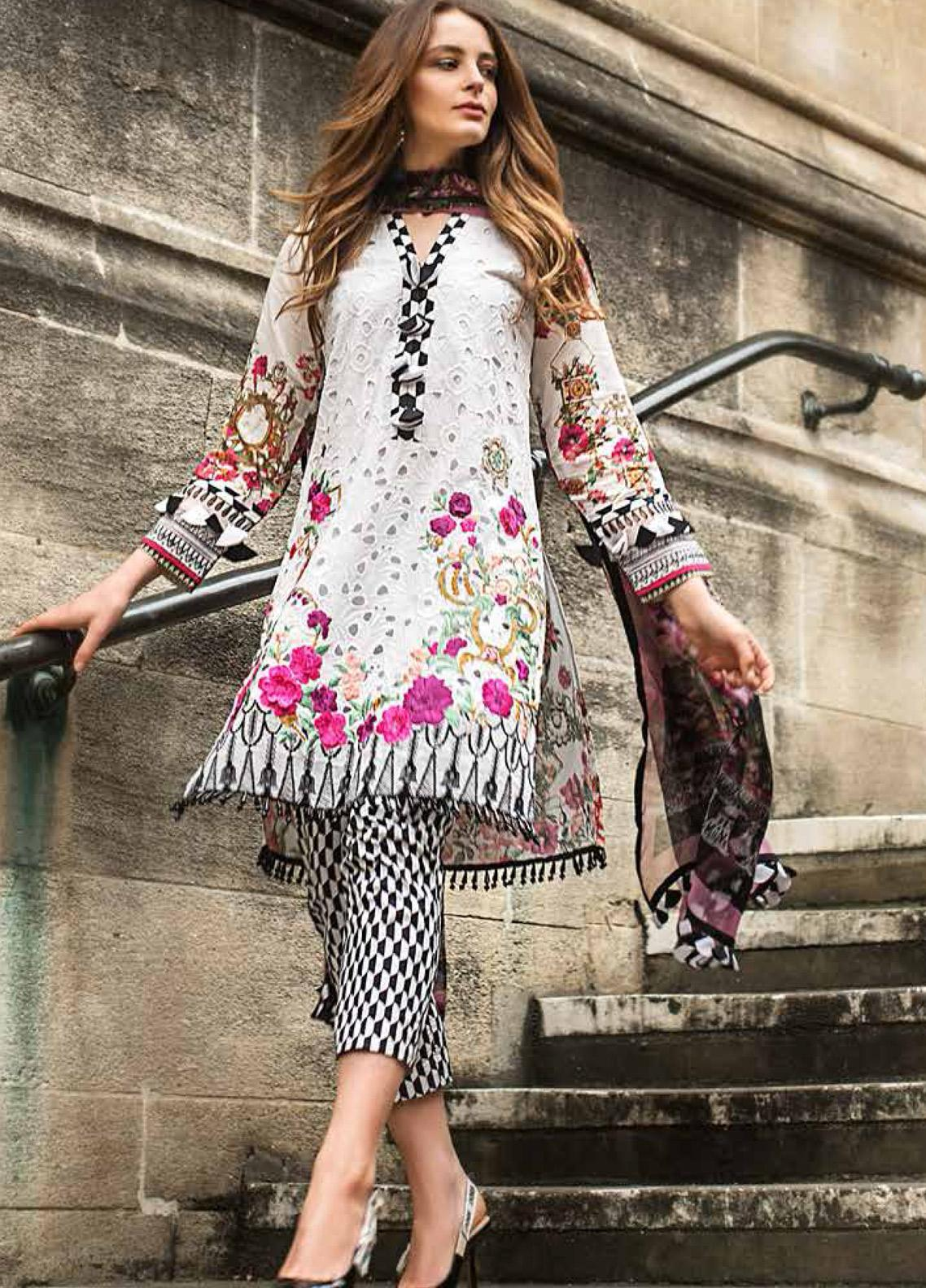 Mina Hasan Embroidered Lawn Unstitched 3 Piece Suit MH19F 10B - Festive Collection