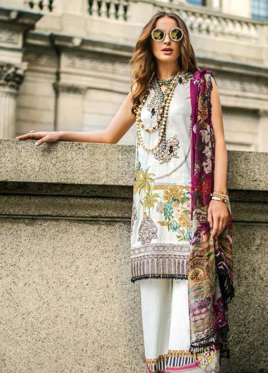 Mina Hasan Embroidered Lawn Unstitched 3 Piece Suit MH19F 2A - Festive Collection