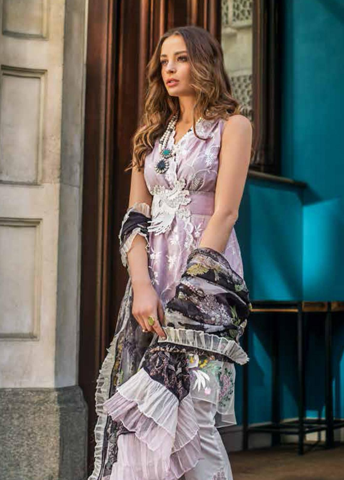 Mina Hasan Embroidered Lawn Unstitched 3 Piece Suit MH19F 3A - Festive Collection