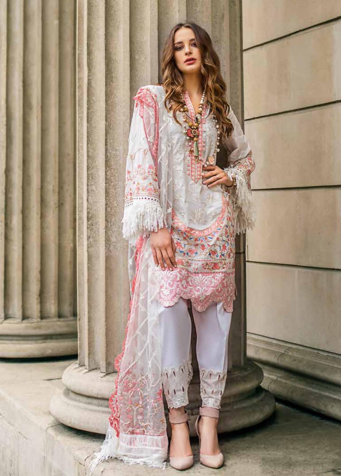 Mina Hasan Embroidered Lawn Unstitched 3 Piece Suit MH19F 4A - Festive Collection