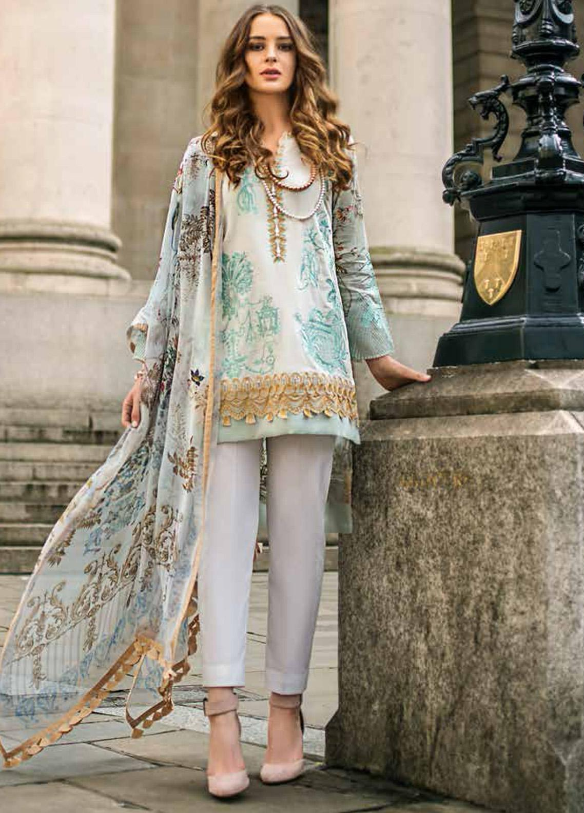 Mina Hasan Embroidered Lawn Unstitched 3 Piece Suit MH19F 5A - Festive Collection