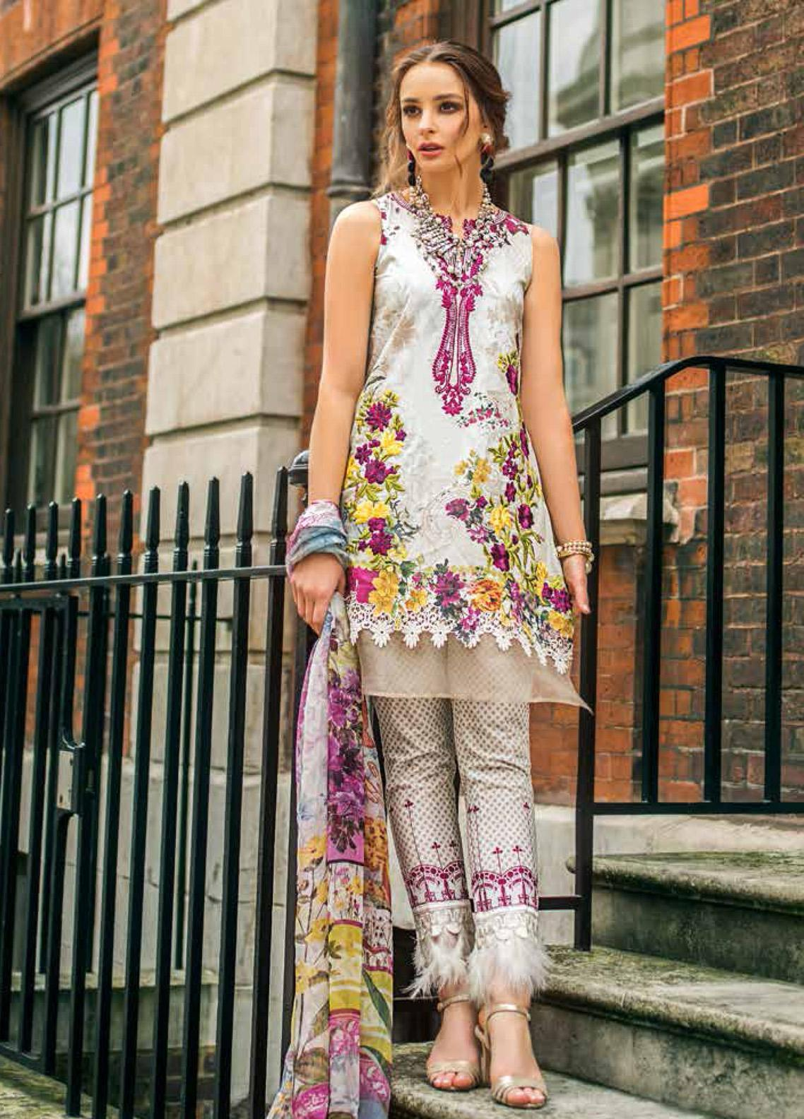 Mina Hasan Embroidered Lawn Unstitched 3 Piece Suit MH19F 7A - Festive Collection