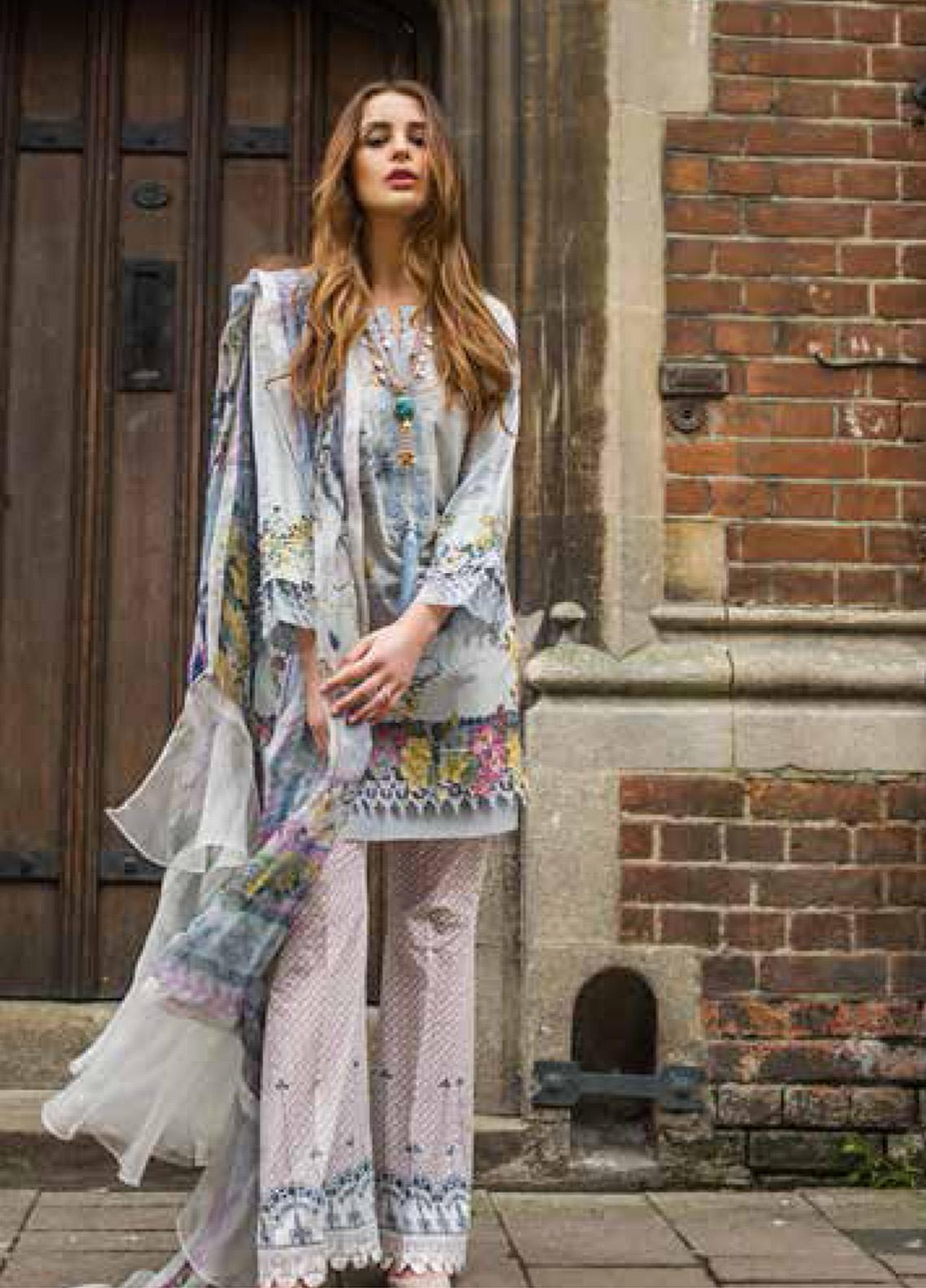 Mina Hasan Embroidered Lawn Unstitched 3 Piece Suit MH19F 7B - Festive Collection