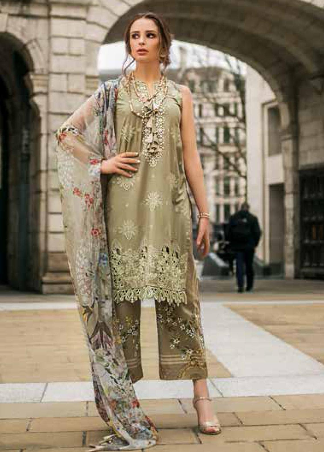 Mina Hasan Embroidered Lawn Unstitched 3 Piece Suit MH19F 8B - Festive Collection