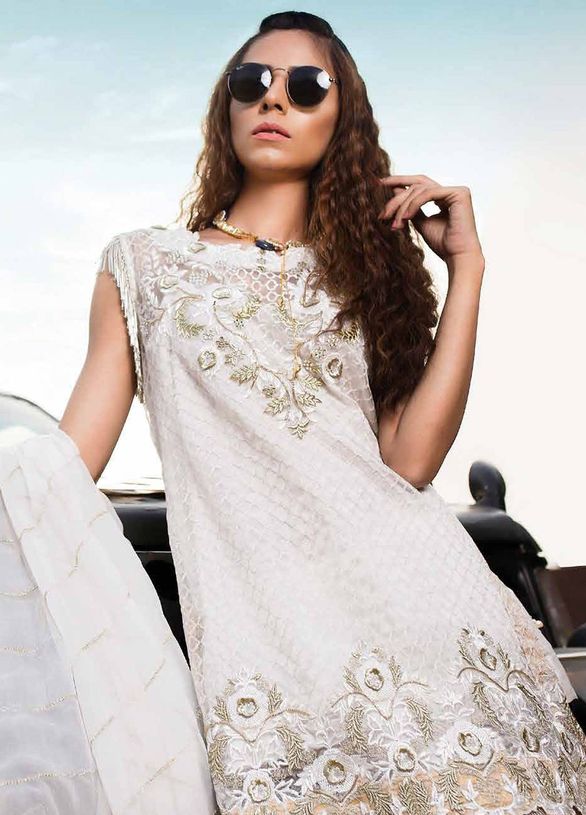 Majestic by EmbRoyal Embroidered Chiffon Unstitched 3 Piece Suit MJ18C 07 - Chiffon Collection