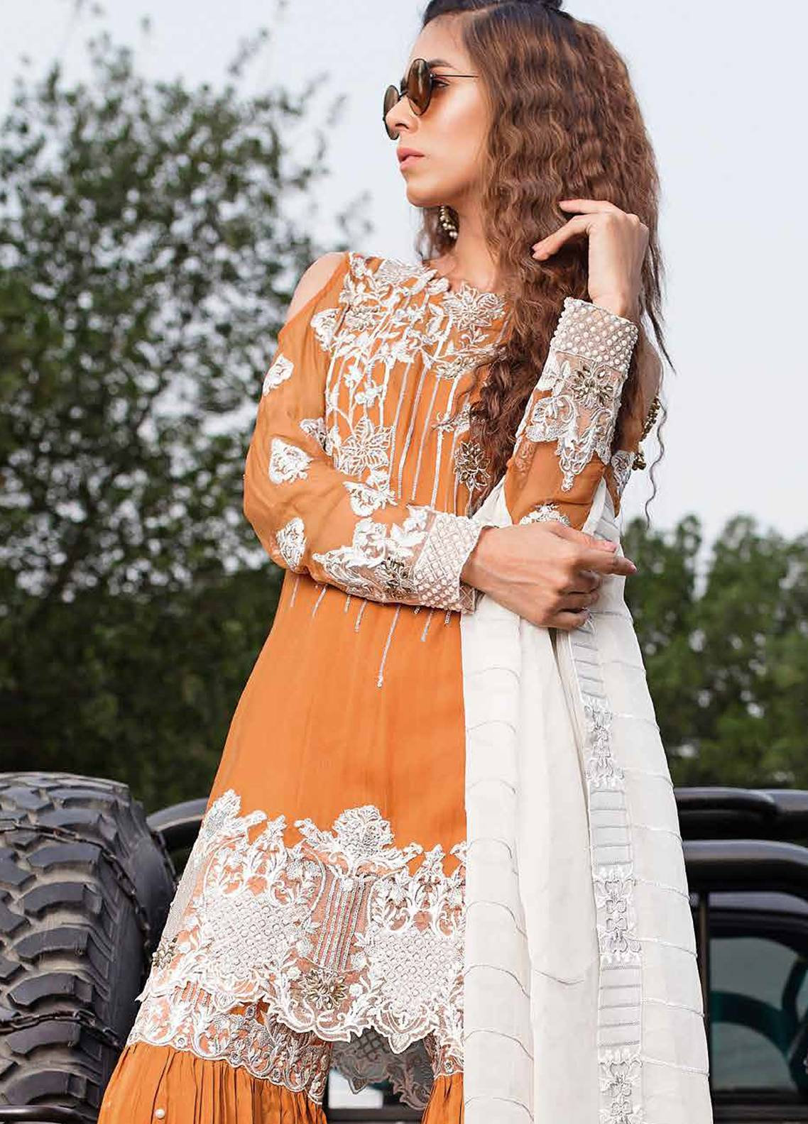 Majestic by EmbRoyal Embroidered Chiffon Unstitched 3 Piece Suit MJ18C 08 - Chiffon Collection