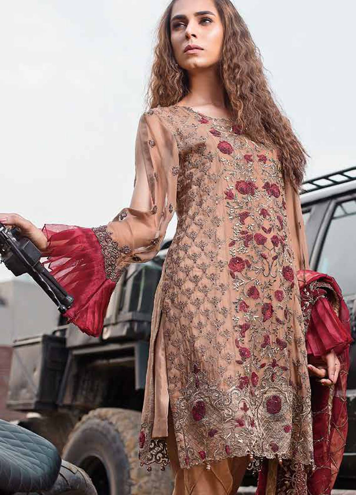 Majestic by EmbRoyal Embroidered Chiffon Unstitched 3 Piece Suit MJ18C 09 - Chiffon Collection