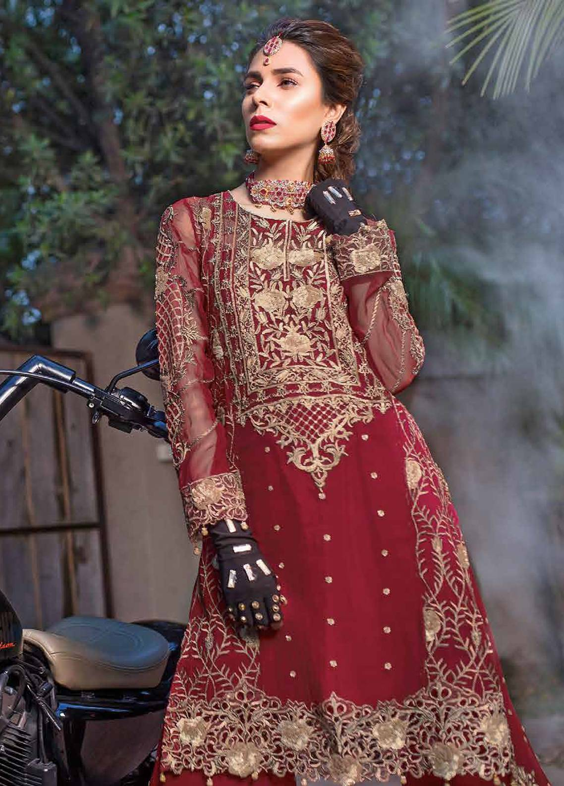 Majestic by EmbRoyal Embroidered Chiffon Unstitched 3 Piece Suit MJ18C 10 - Chiffon Collection