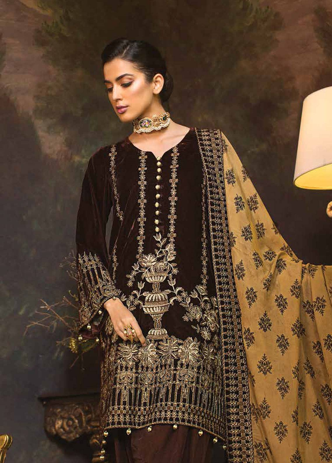 Mohagni Embroidered Velvet Unstitched 3 Piece Suit MO18W 08 - Festive Collection