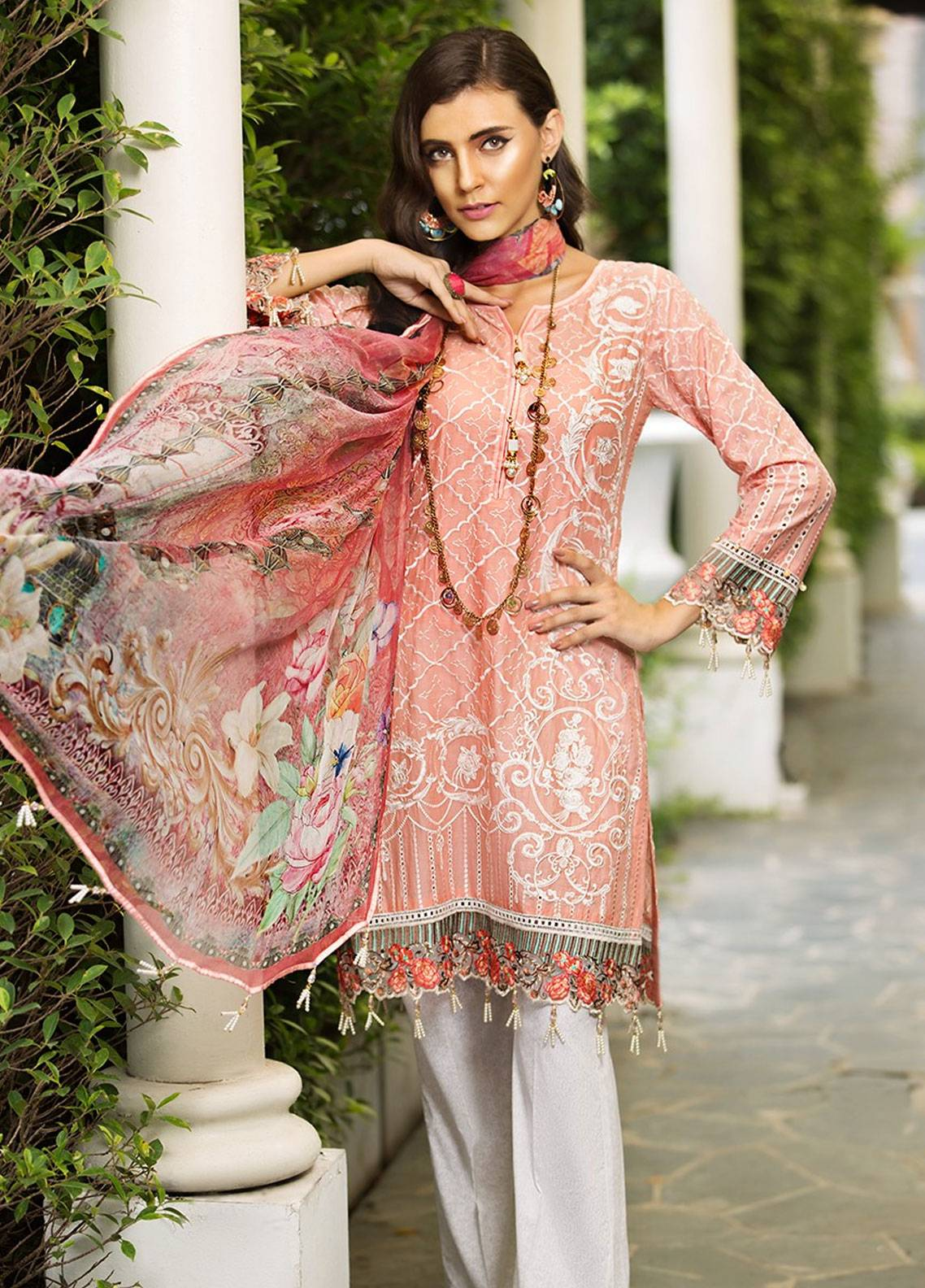 Mohagni Embroidered Lawn Unstitched 3 Piece Suit MOG19F 01 - Festive Collection