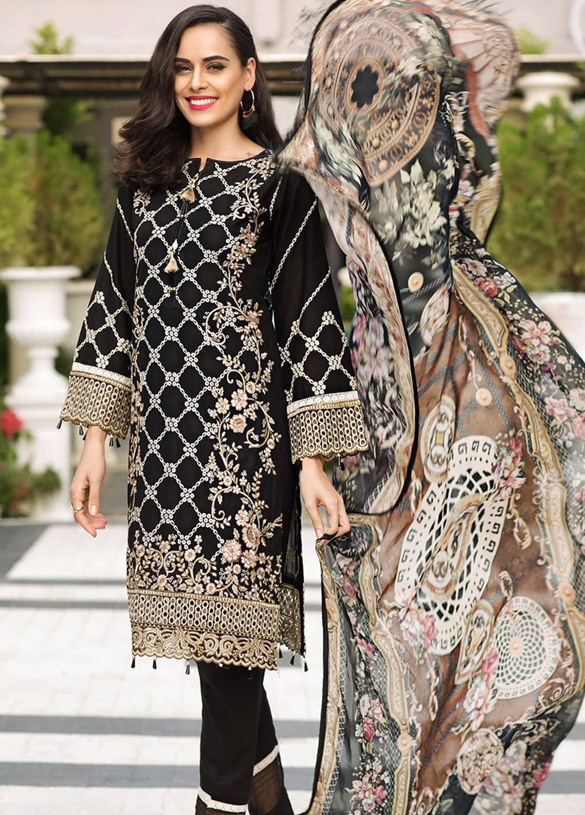 Mohagni Embroidered Lawn Unstitched 3 Piece Suit MOG19F 04 - Festive Collection